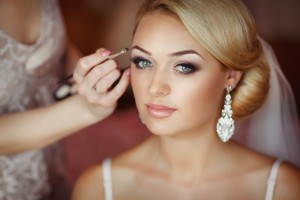 Beautiful bride wedding makeup hairstyle marriage