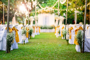 65963792 - beautiful wedding ceremony in garden at sunset